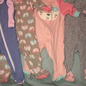 Baby girl's zipper pajamas bundle